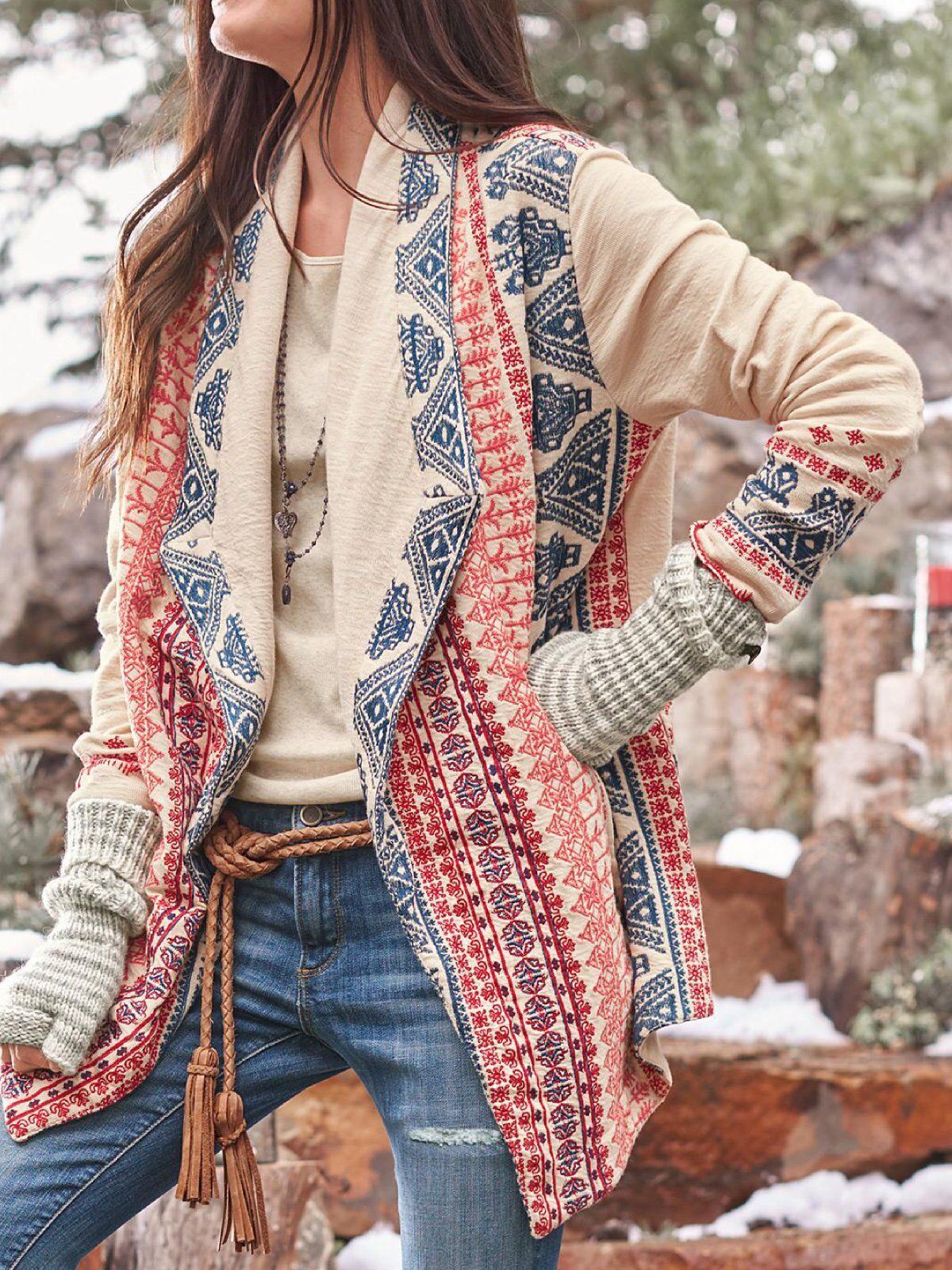 Casual Shawl Collar Floral Print Cardigan | Cool outfits