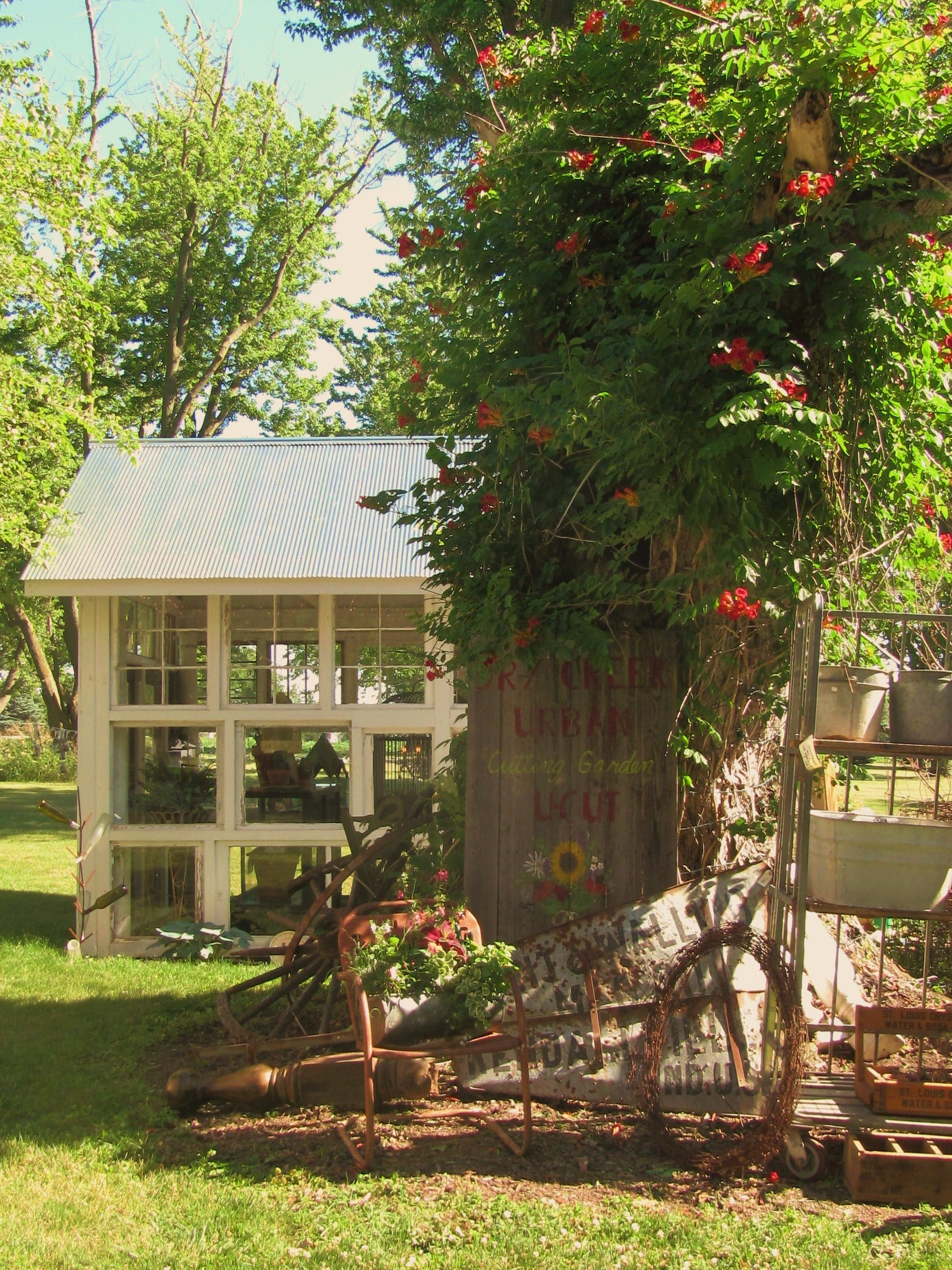 Loved the garden house made from old windows..... | Sisters in ...
