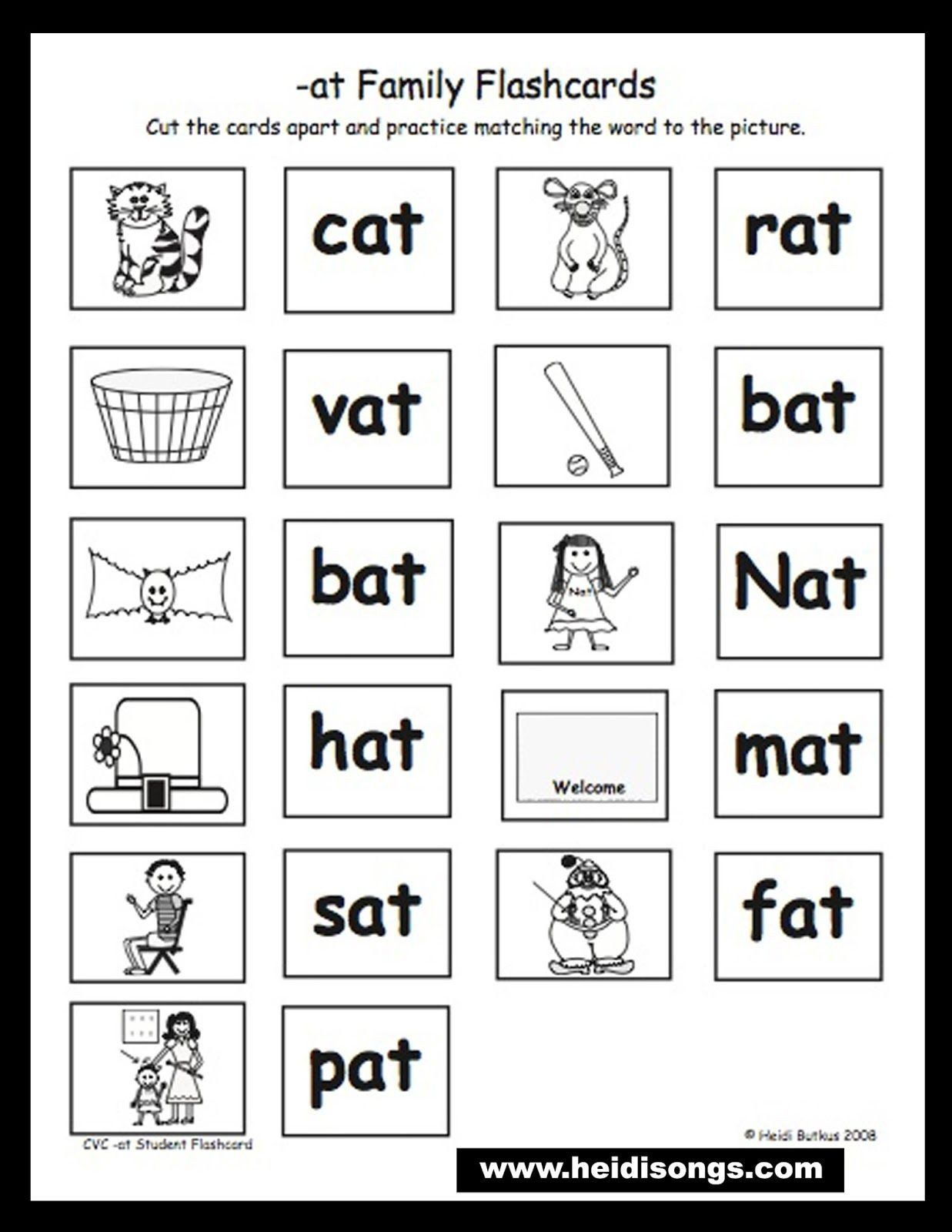 Cvc Worksheet Kindergarten Cat Mat Sat Worksheet In