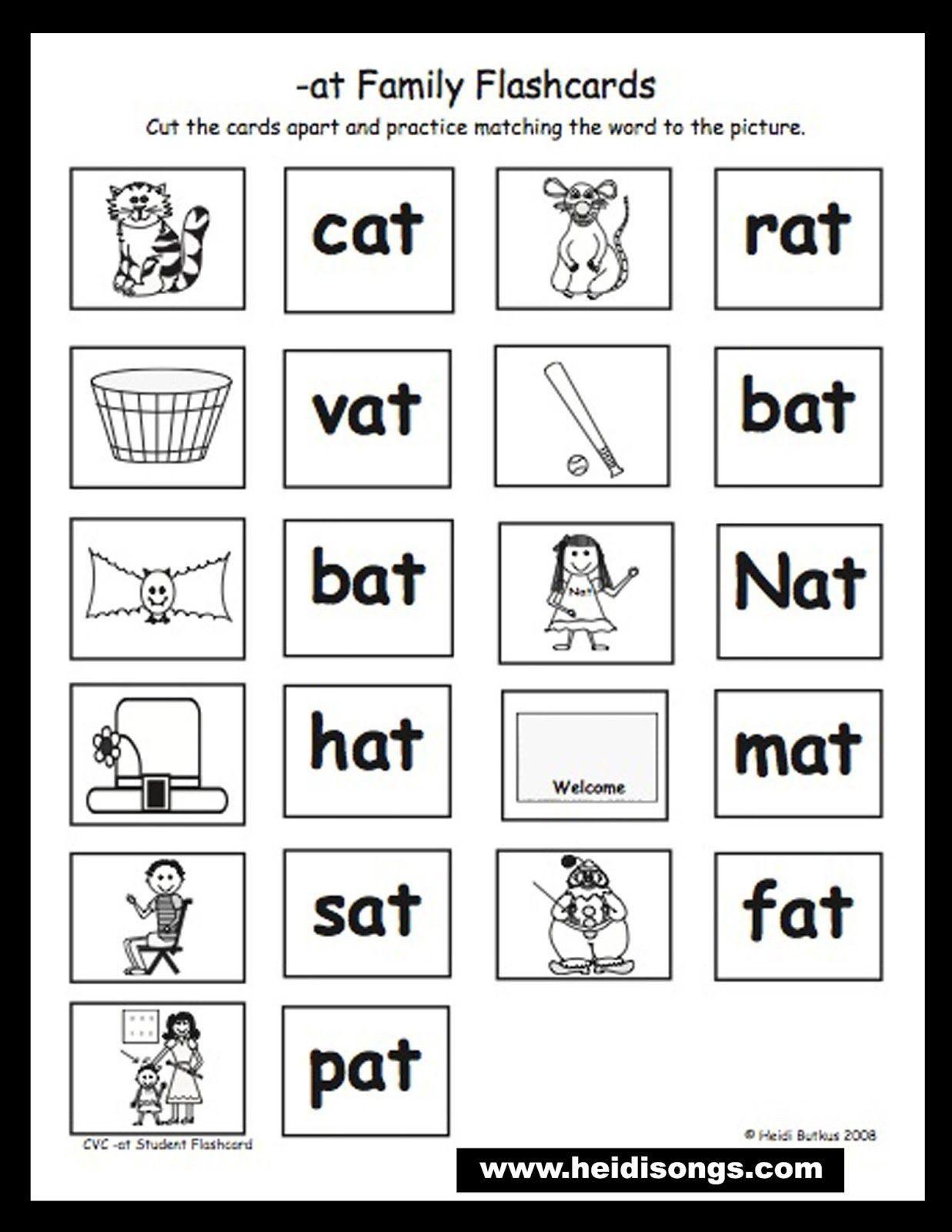 Cvc Worksheet Kindergarten Cat Mat Sat Worksheet In