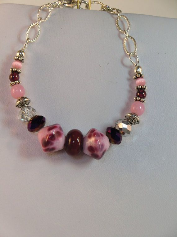 ON SALE  Dotty pink purple and maroon lampwork by wilywolverine, $16.95