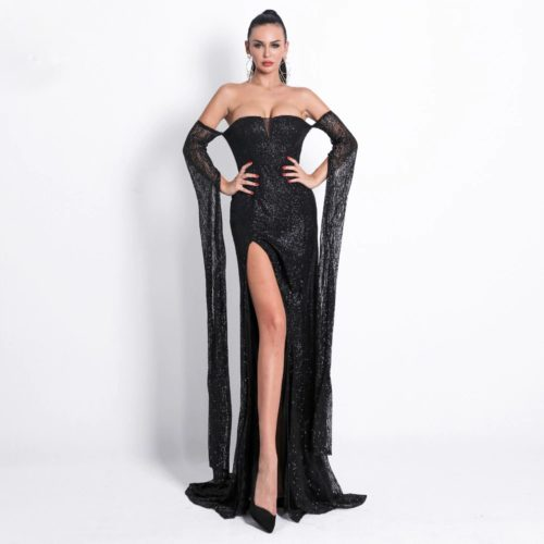 17d999a3cb4 Black High Slit Gown - Off Shoulder Black Sequin Evening Dress