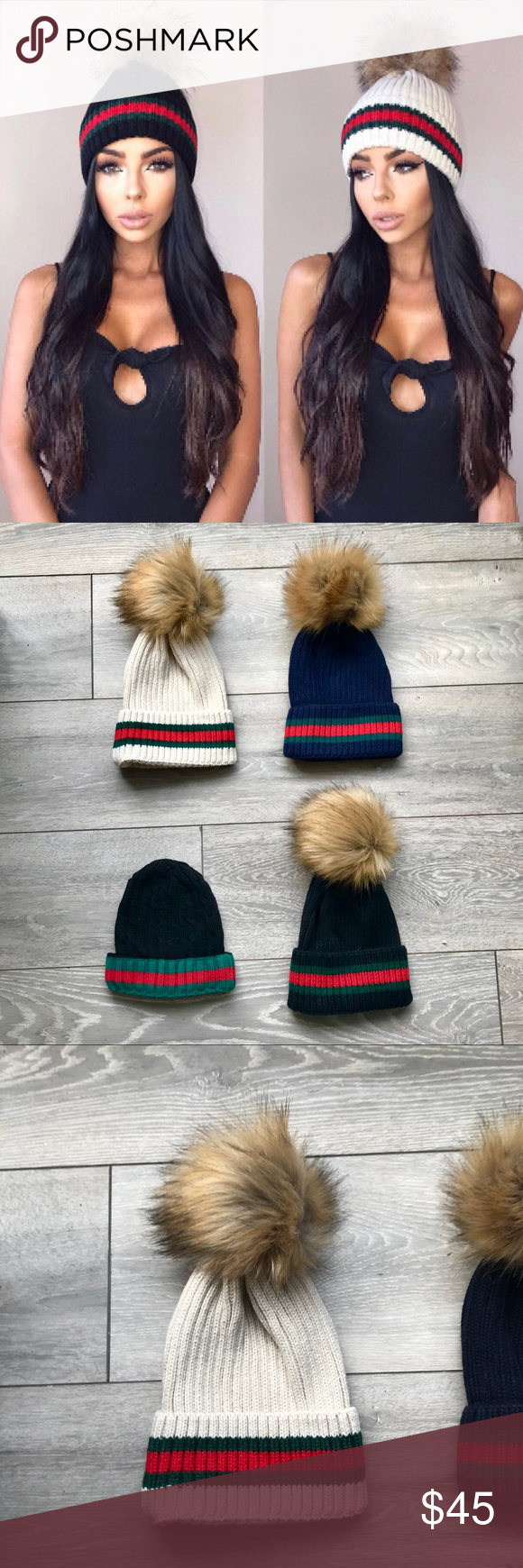 c0a2065c370 Striped beanie wool knit fur Pom hat NOT GUCCI beE This is a Green   Red