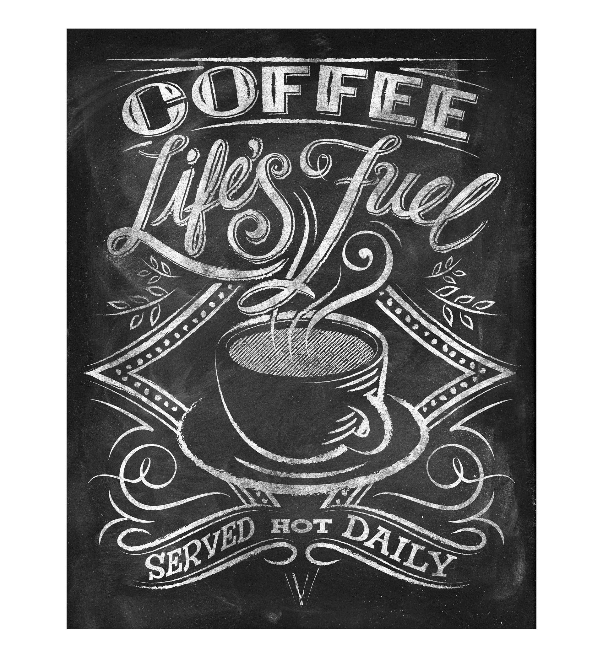 Chalkboard art for licensed products featuring coffee