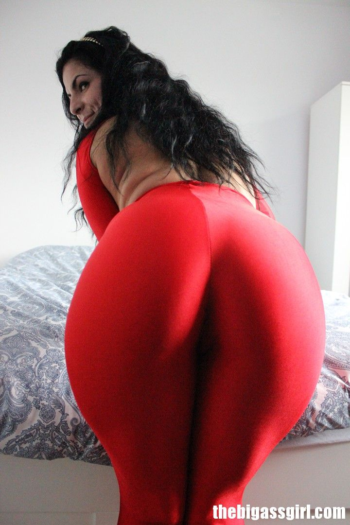The Big Ass Girl Big Ass Girl Red Spandex Jumpsuit Groping Booty