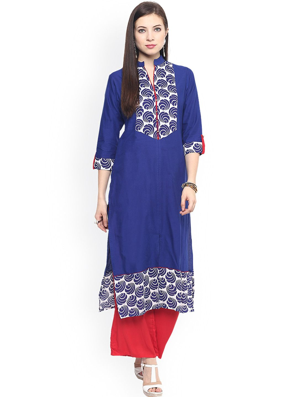Buy Jaipur Kurti Blue & Red Printed Kurta With Palazzo Trousers - Kurta  Sets for Women