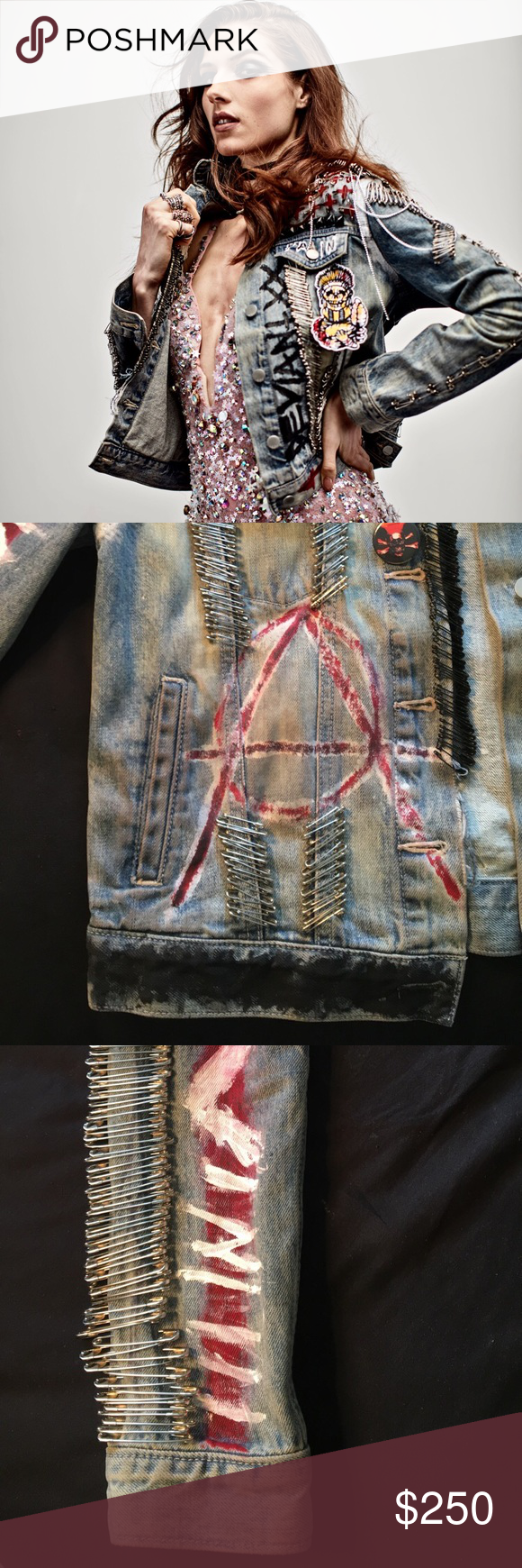 Handcrafted Punk Safety Pin Denim Jacket Black safety