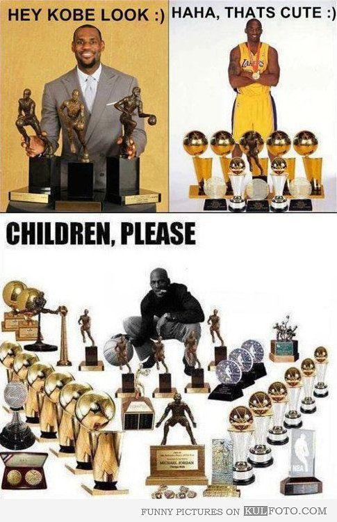 Michael Jordan And His Basketball Trophies