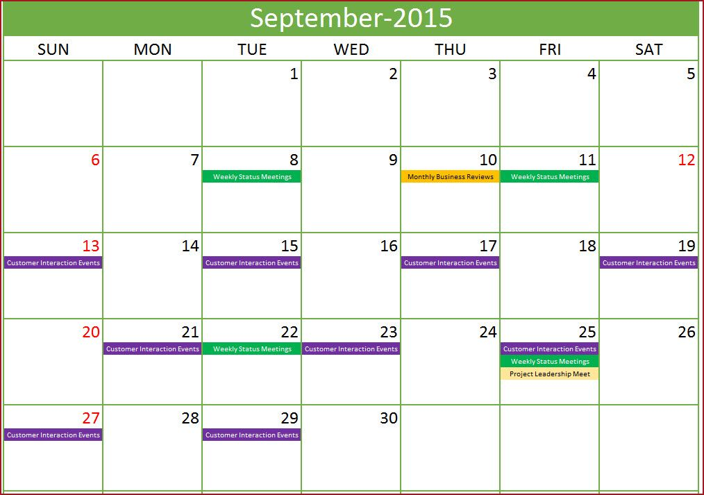 Event Calendar Maker - Excel Template - Monthly with Events Design - sample monthly calendar