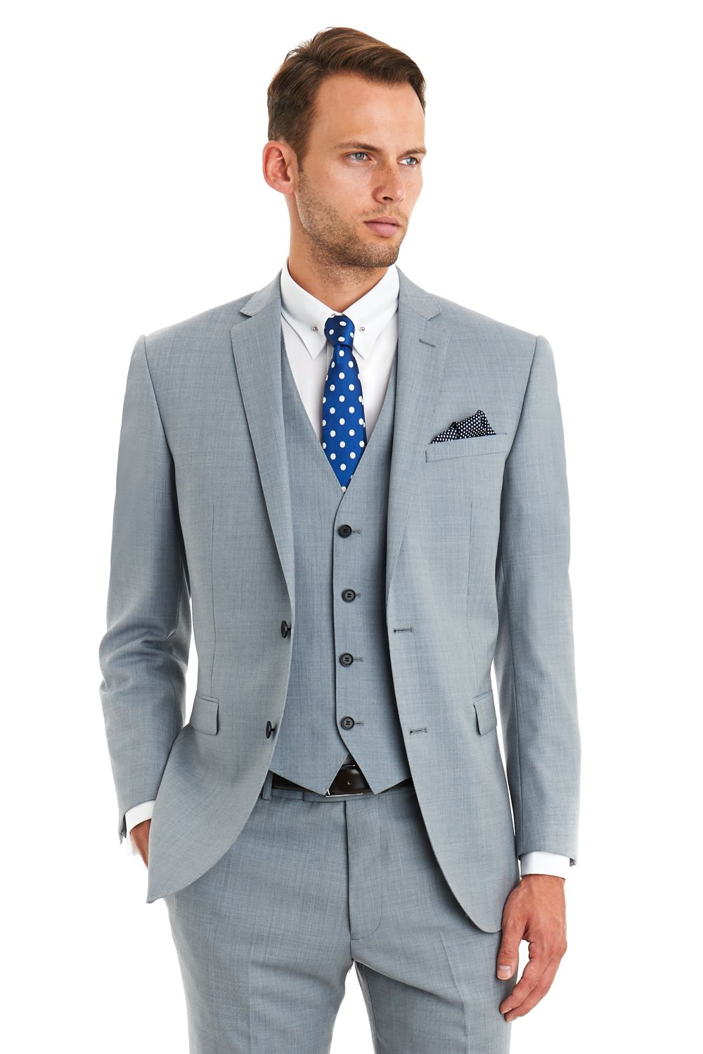 This Blazer tailored fit blue duck egg suit is single breasted. It ...