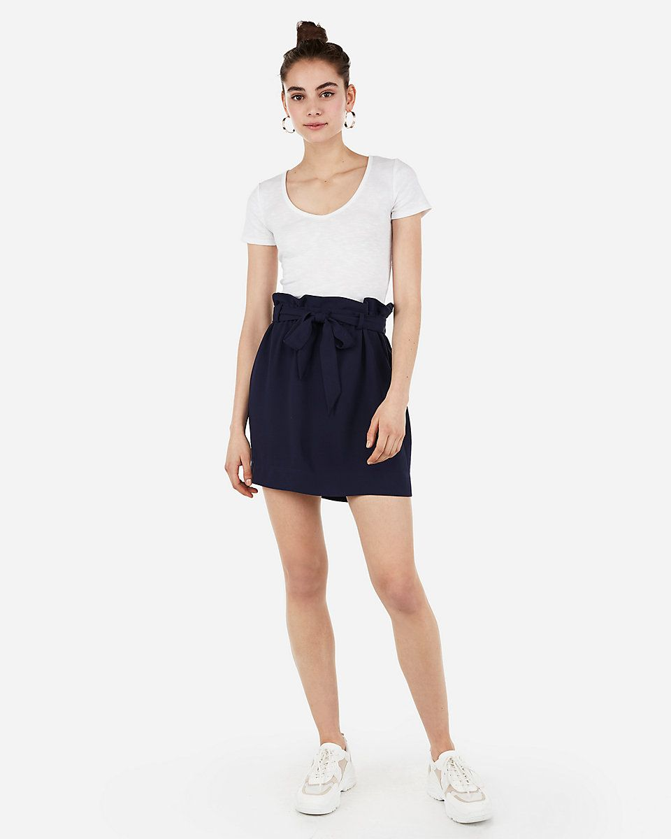 47246f29c0273 High Waisted Sash Tie Mid-thigh Skirt | Express | Express in 2019 ...