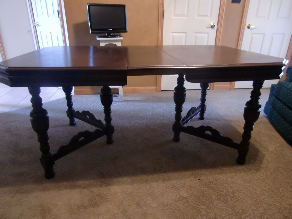 Awesome 1891 ANTIQUE DINING ROOM TABLE W/ HIDEABLE LEAF U0026 MATCHING CHAIRS U0026 MASTER  CHAIR