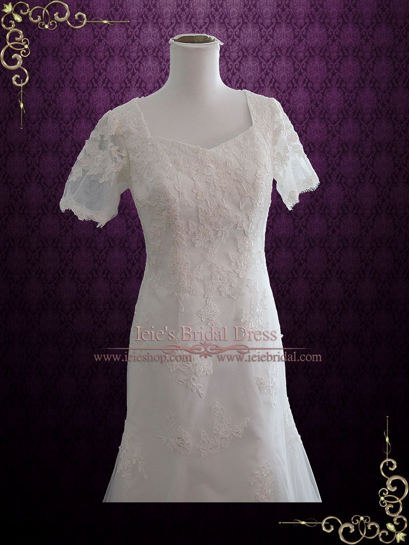 Bohemian lds lace wedding dress with sleeves kate in