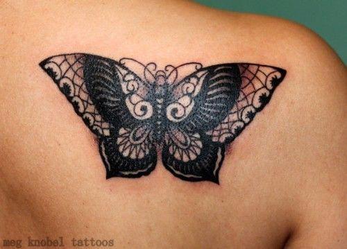 96bf99ff7bffe Black Ink Butterfly Tattoo On Back Shoulder #Tattoosonback   Tattoos ...