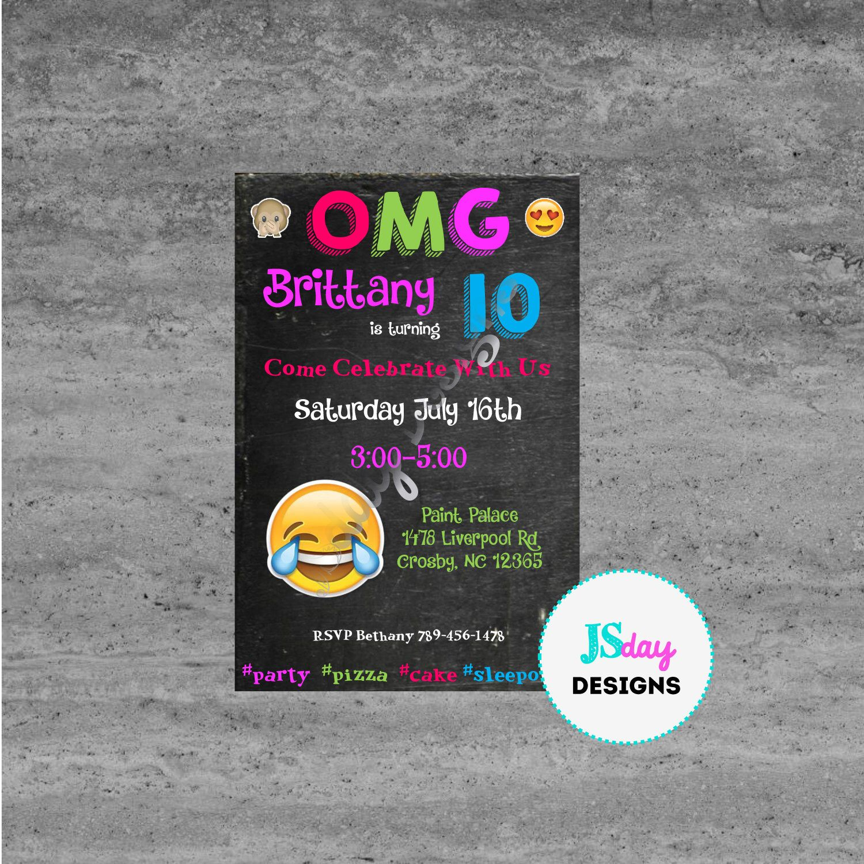 Tween Teen Birthday Ideas Emoji Party Invite Invitation