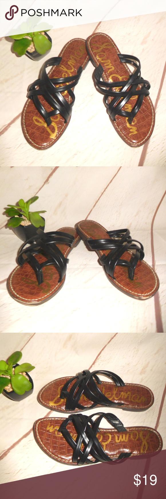 d316c03b23db Sam Edelman Georgette Black Leather Slide Sandals - very nice Sam Edelman  Black Leather