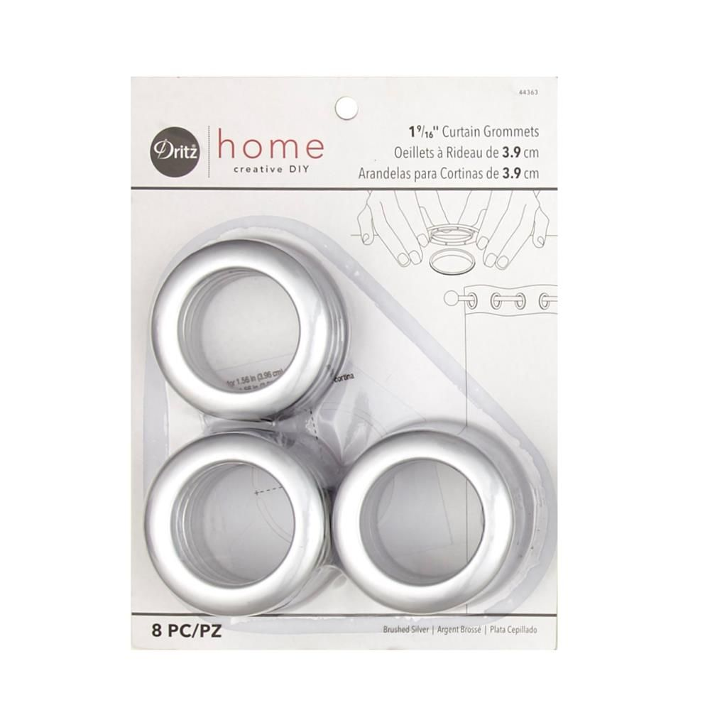Curtain Grommets 8 Pack Brushed Silver 1 9 16 Grommet