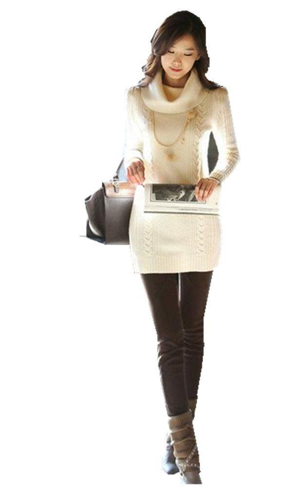 Women's Ribbed Cowl Neck Long Sleeve Cable Knit Long Sweater Short ...