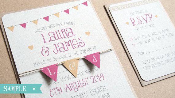 Bunting Wedding Invitation, Summer Fair, Cute, Wedding Bunting, Rustic Invitations, Rustic Wedding, Bunting Invite, Festival, SAMPLE