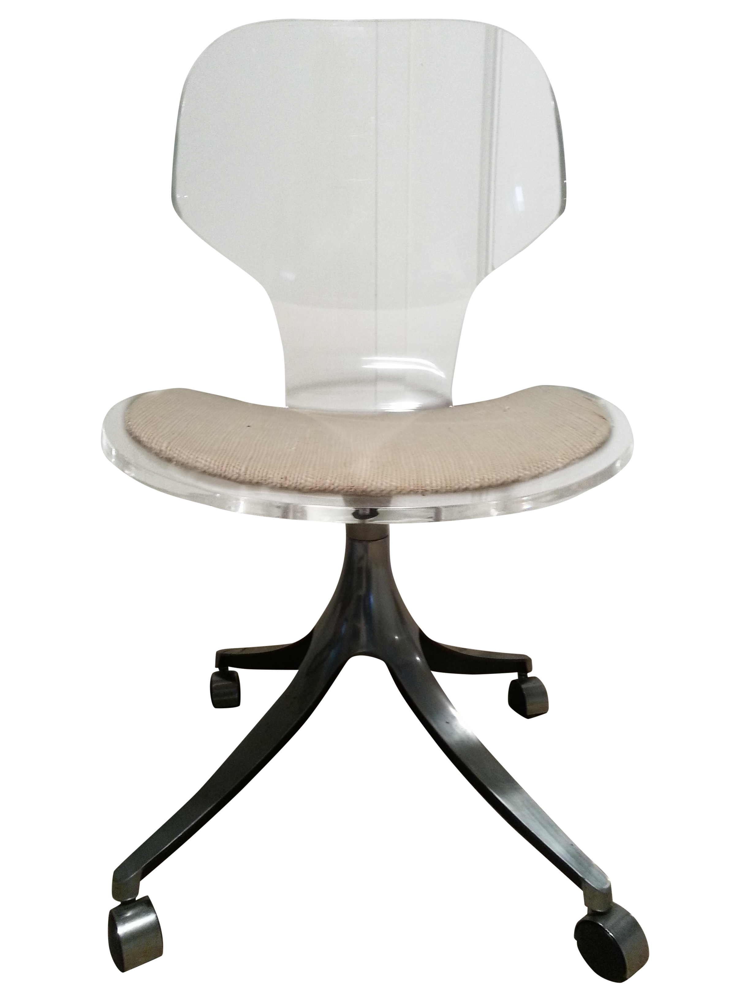 Delicieux Beautiful Example Of A Mid Century Lucite Desk Chair. The Lucite Is 1/2  Inch Thick, Has A Light Scratch On The Back. Chrome Base And Casters, ...