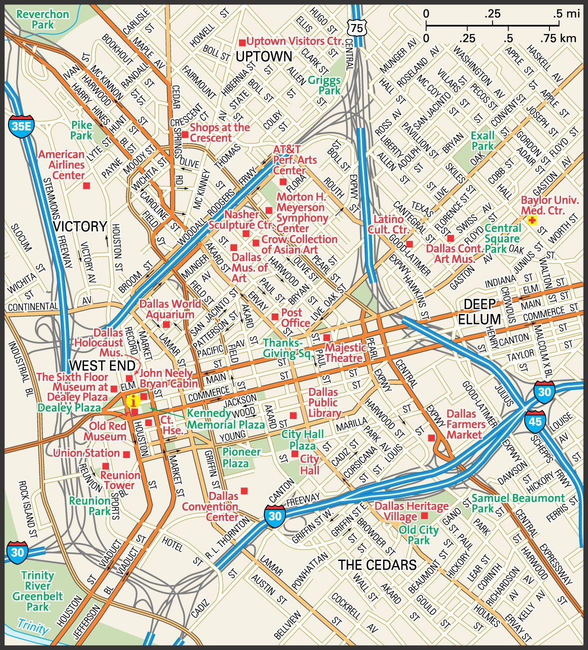 Downtown Dallas Map and Guide downtown Dallas street map
