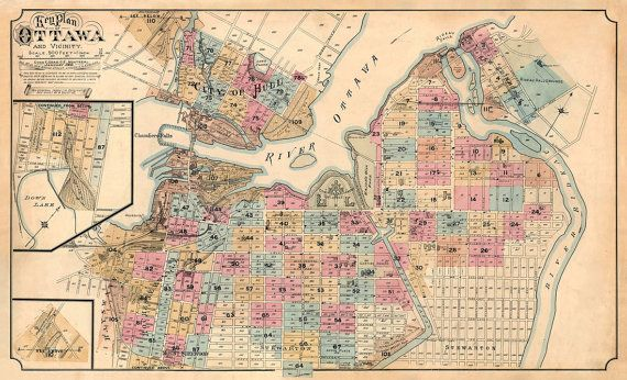 Vintage Map Of Ottawa Canada Historical Map Plan Of