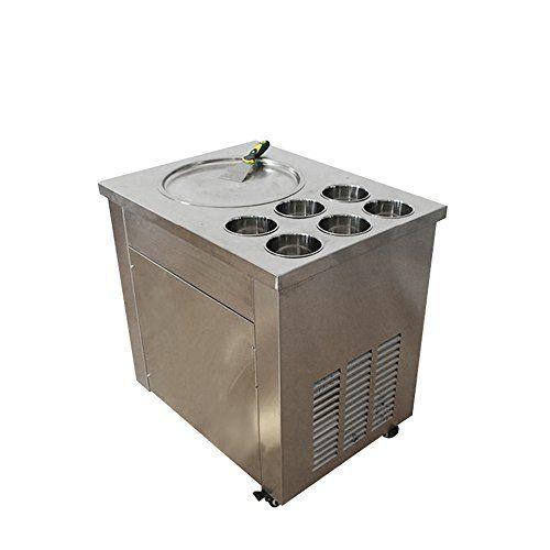 Zorvo Commercial Fried Ice Cream Machine1 Pan 6 Boxes Ice Crean