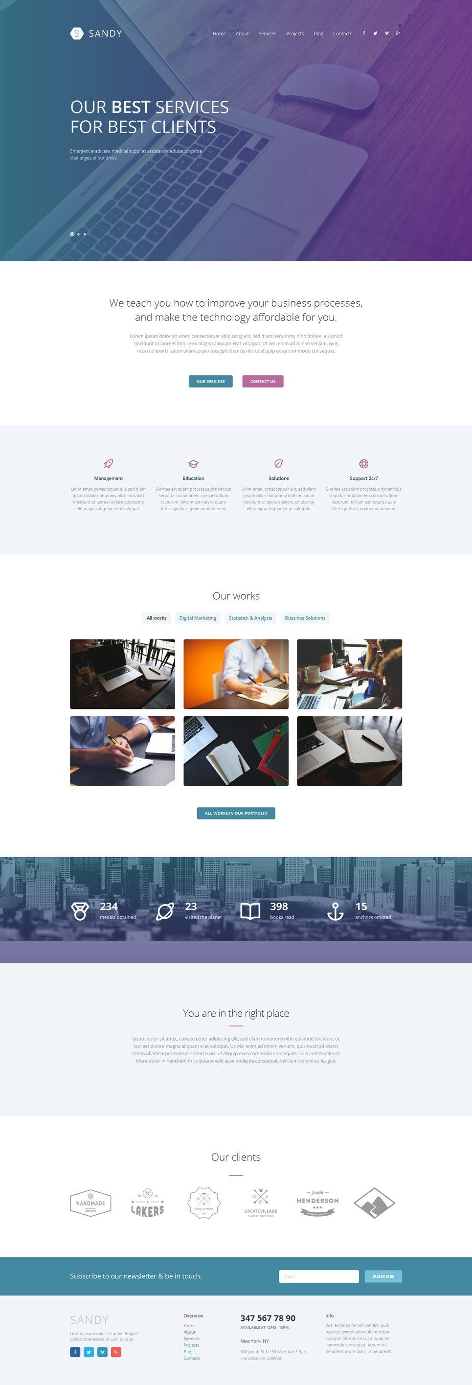 Sandy Web Design Website Template With Elementor Builder Wordpress Theme 52603 Web Design Tips Simple Web Design Website Design Inspiration