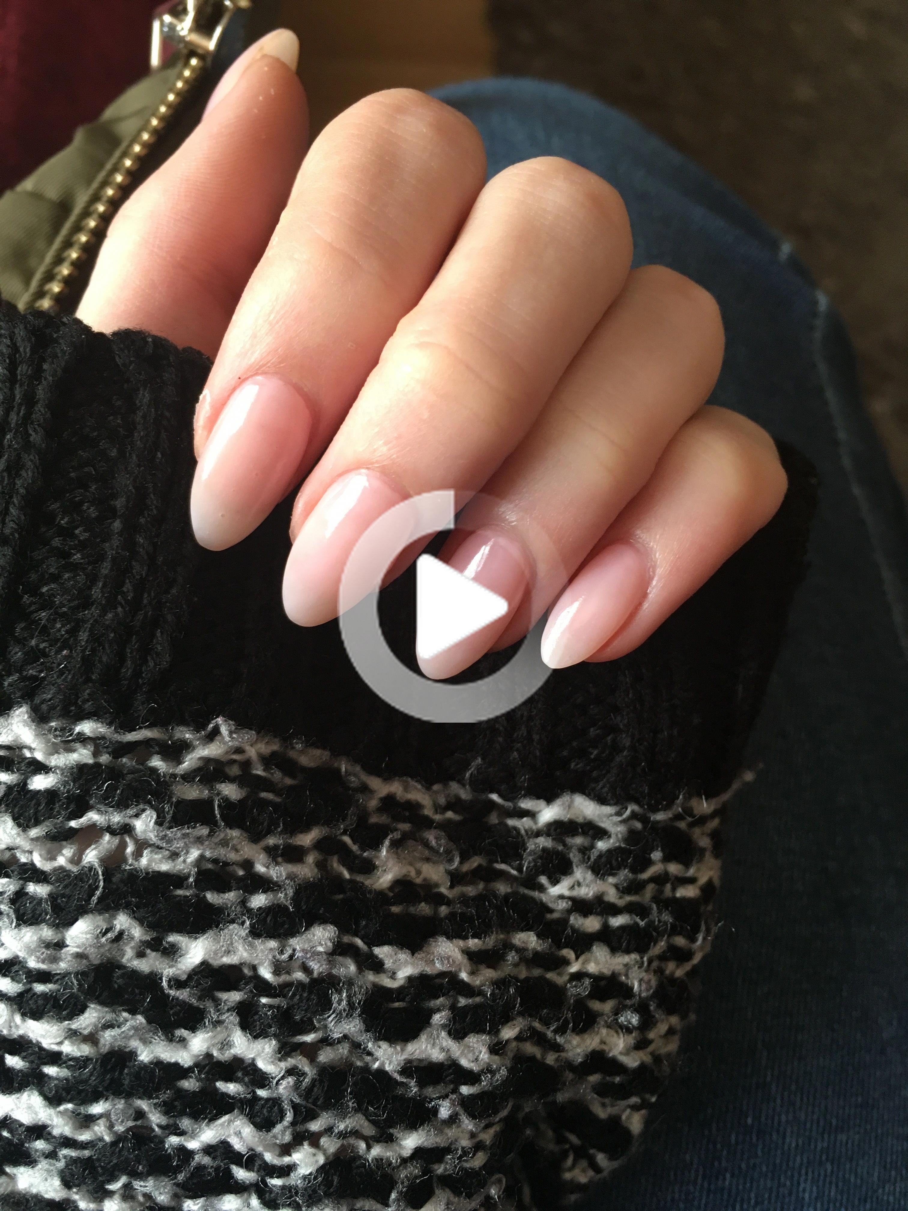 Sheer Pink/Natural acrylic almond nails  #acrylicnails #AcrylicNailsShort