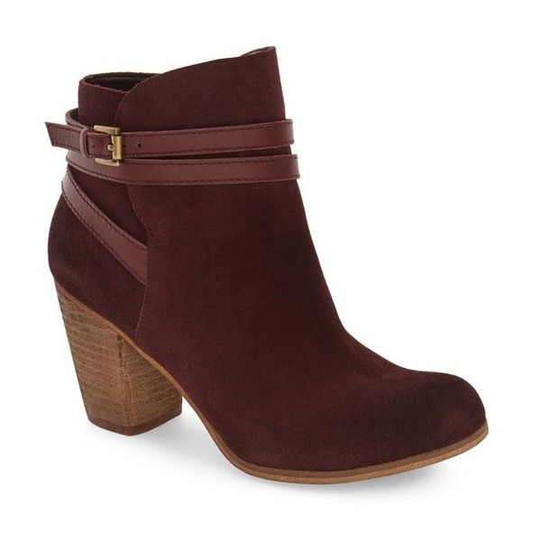 Women's Bp. 'Tandem' Bootie (£45) ❤ liked on Polyvore featuring shoes, boots, ankle booties, burgundy suede, ankle boots, short boots, bp booties, burgundy boots and burgundy booties