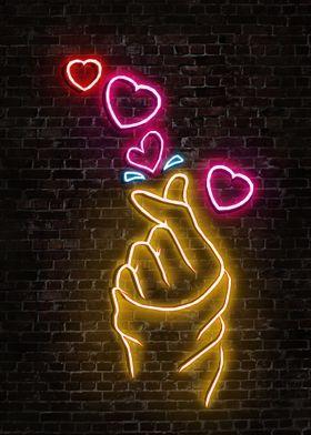 'Love Neon Art' Metal Poster - Capung Studio   Displate