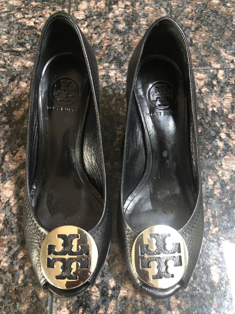 512a2dfc1fe TORY BURCH SALLY 2 PEEP TOE PEBBLED TUMBLED LEATHER WEDGE SHOES  -BLACK SILVER- 6  fashion  clothing  shoes  accessories  womensshoes  heels  (ebay link)