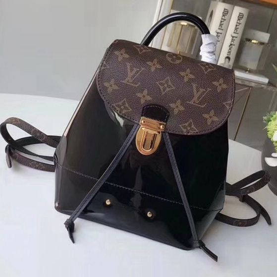 b6c03c68c46e Louis Vuitton Hot Springs Backpack in Monogram Canvas Patent Leather Noir  2018