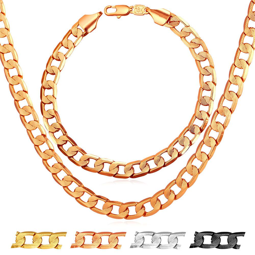 Fashion curb chain necklace bracelet set for men k gold plated