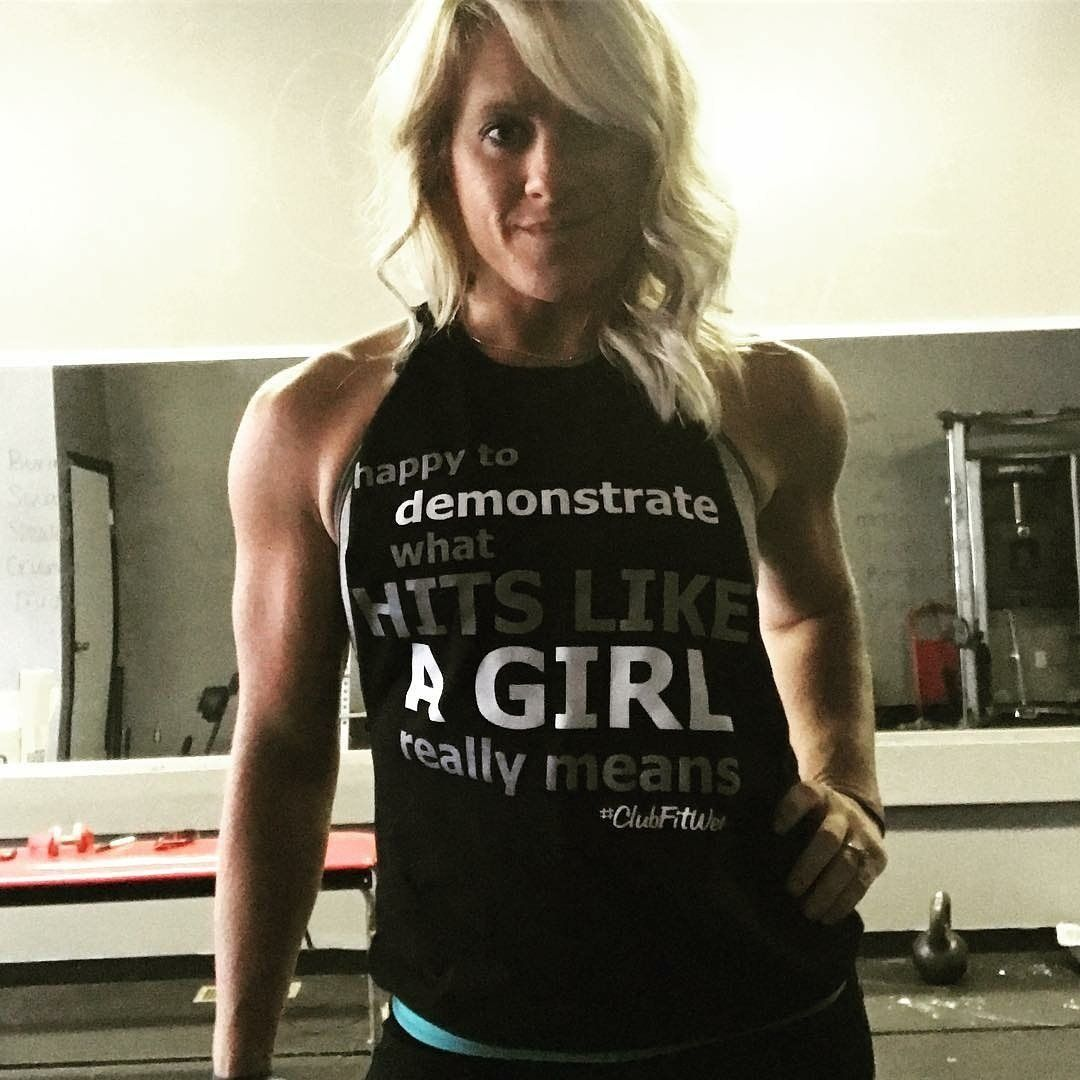 f65cd852fedd46 Happy to Demonstrate what Hits like a Girl really means! - Quality Printed  Silkscreen - Ships within 2 business days - Made in the USA by Gym Rats