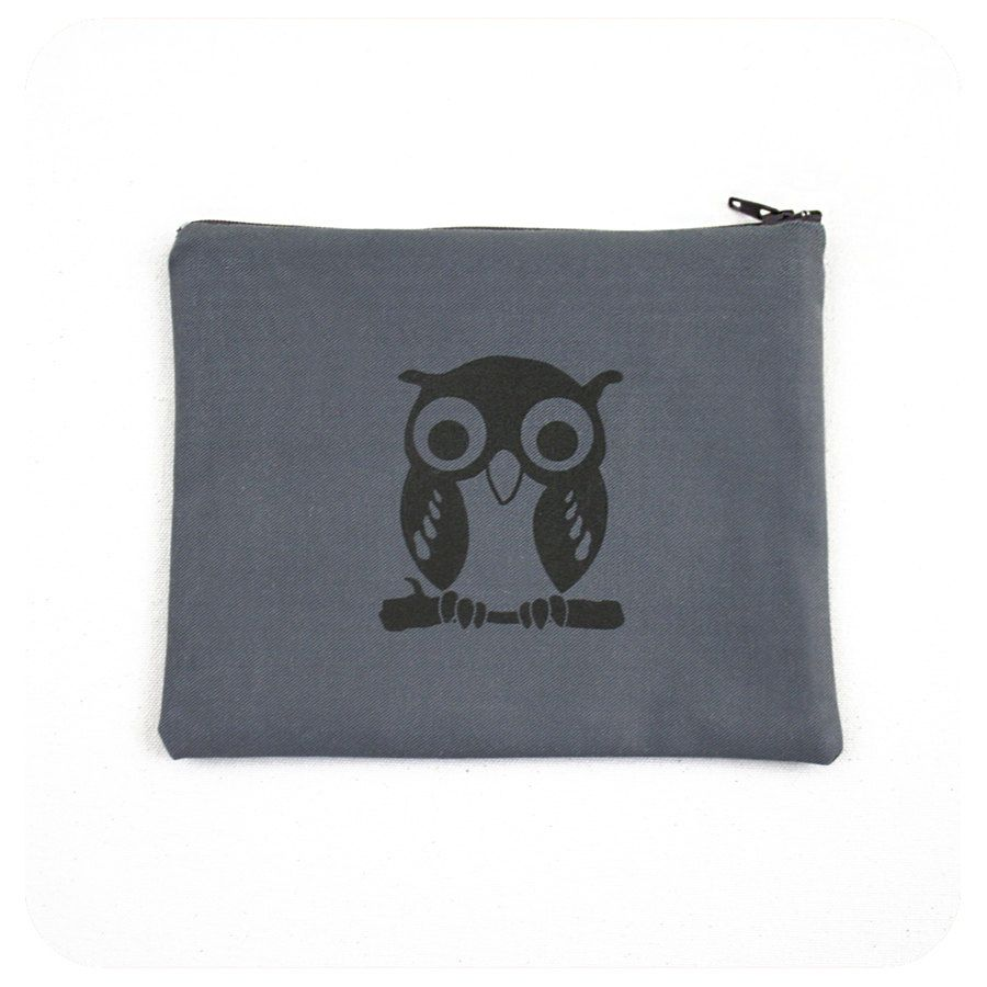 Owl Zipper Bag 7x6 Inch Pouch with Brown Owl Screenprint by Boomerang360 on Etsy