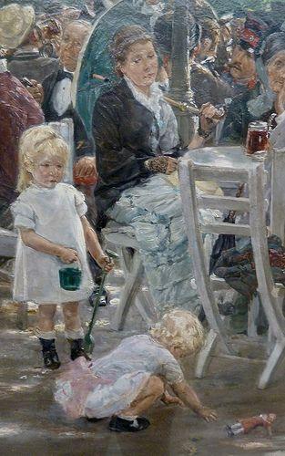 Max Liebermann - Munich beer garden, detail 3 (1884) |