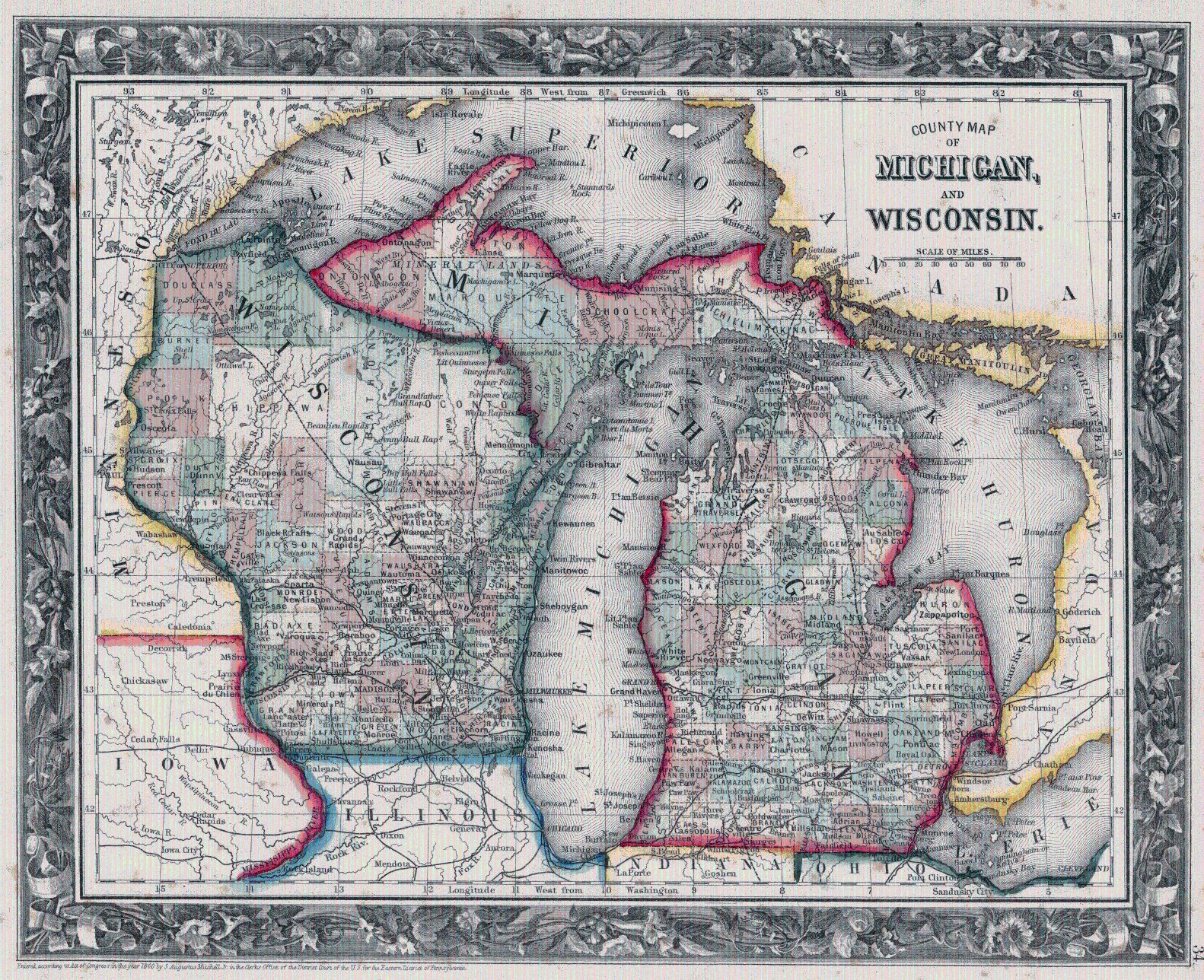 Map Antique County Map of Michigan and
