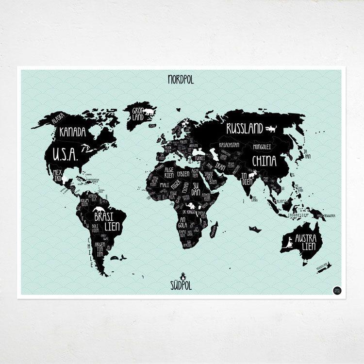 A1 Plakat Poster illustrierte Weltkarte mint grün world map Amy - wandbilder wohnzimmer grun