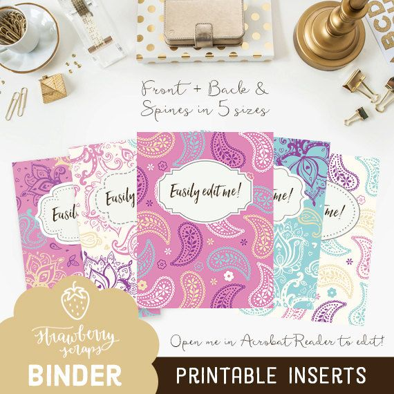 Paisley binder covers 5x set Covers Spines Binder inserts - w - printable receipts for payment