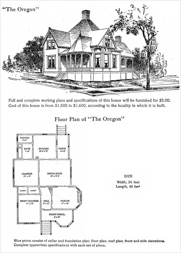 Small 1905 Hodgson House Plan Oregon Small Queen Anne Cottage House Plans With Pictures House Plans Cottage Floor Plans