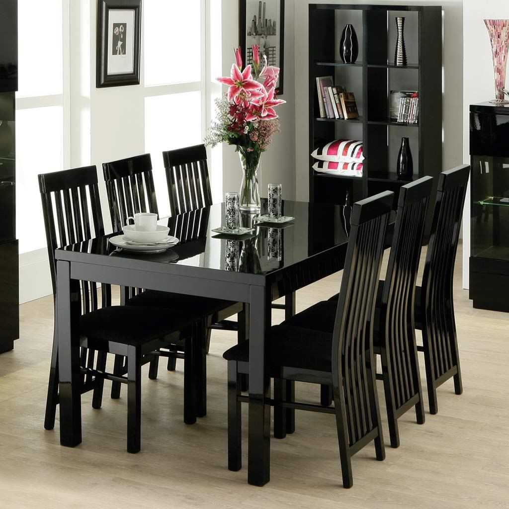 Nice Black Dining Room Furniture Decorating Ideas Part - 3: Decorative Striped Pillow On Display Cabinet Feat Stylish Black Wooden Chairs  Dining Room Also Glass Flower
