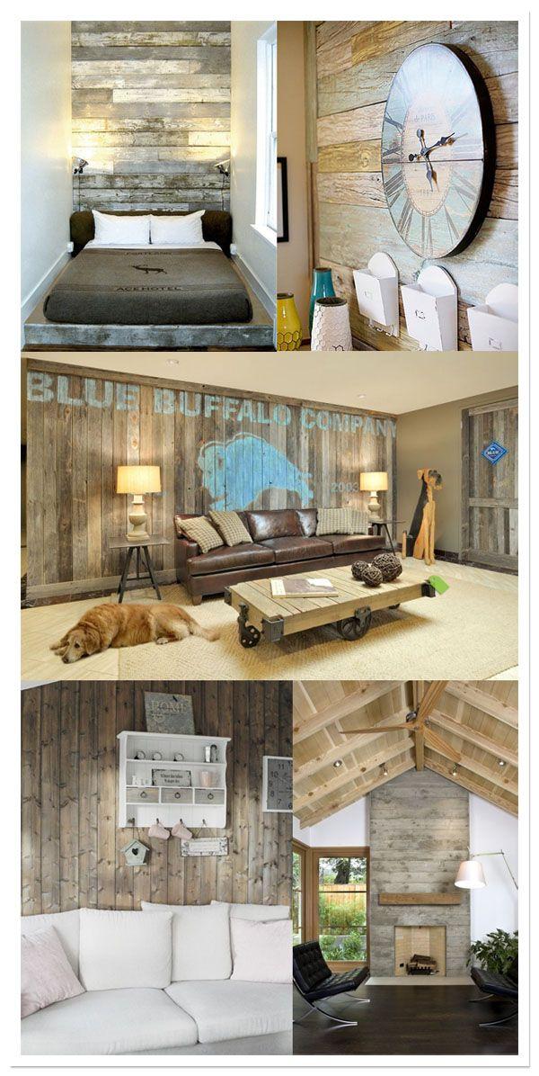 wood wall, mur bois, pared madera w/h Pinterest Salones de