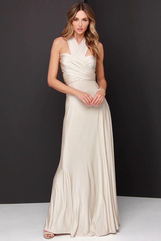 Always Stunning Convertible Beige Maxi Dress   Fashion Chic Style ...