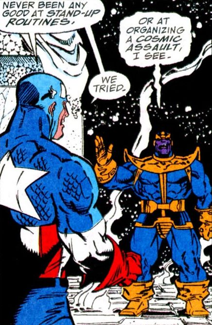 Image result for Captain America vs. Thanos (October, 1991)The Infinity Gauntlet #4