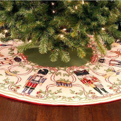 Gorgeous Handmade Needlepoint Wool Christmas Tree Skirt CTB NP 0104