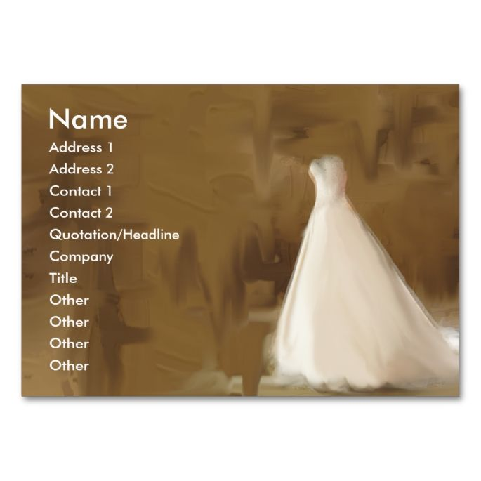 Wedding Dresses business cards. This is a fully customizable business card and available on several paper types for your needs. You can upload your own image or use the image as is. Just click this template to get started!