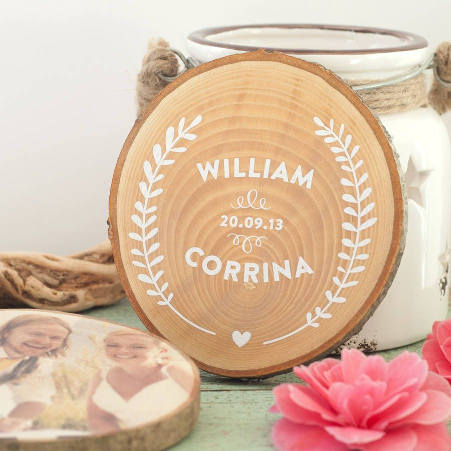 Personalised Wooden Wedding Keepsake By The Drifting Bear Co