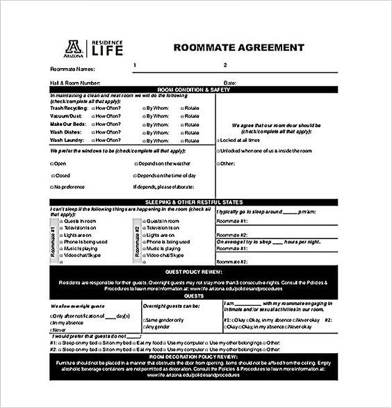 Example Roommate Agreement Templates , How to Create Your Own - master service agreement template