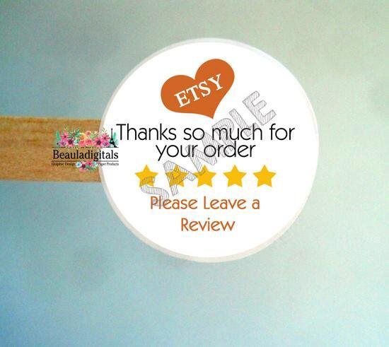 Etsy review stickers printed stickers customer review labels customer feedback labels printed label stickers round label sticker